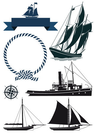 tall ship: Sailboats and banners