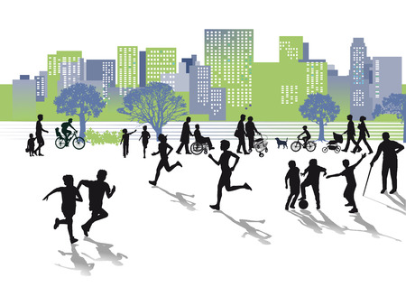 Leisure in the city  Illustration