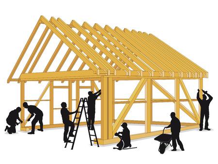 carpintero: Construir casa de madera Vectores
