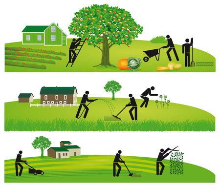 Gardening and harvesting Vector