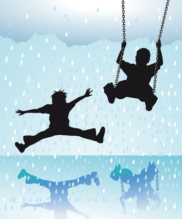 joking: Children playing in the rain