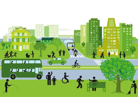paso de peatones: ciudad verde