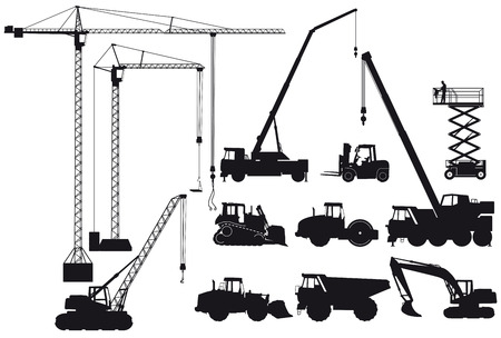 Earth-moving machinery and crane Vector