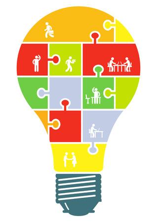 Concept van samenwerking en partnerschap in gloeilamp Stock Illustratie