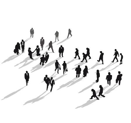 persona caminando: Grupo humano desde arriba