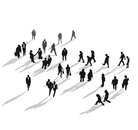 business people walking: Human group from above