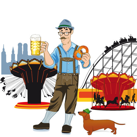 leather pants: Bavarian man with beer at Oktoberfest  Illustration