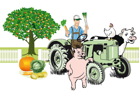 landscape gardener: Farmer on Tractor with his animals