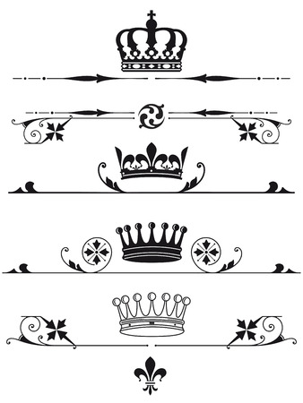 icone: royal crowns and characters Illustration