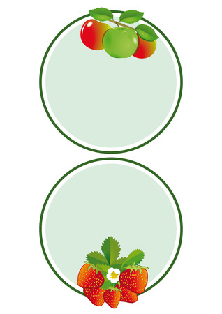 Apple strawberry label  Vector