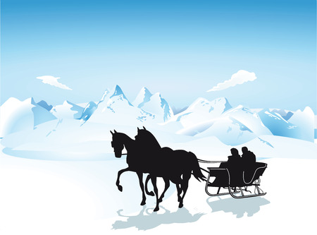 horse harness: Sleigh in the mountains