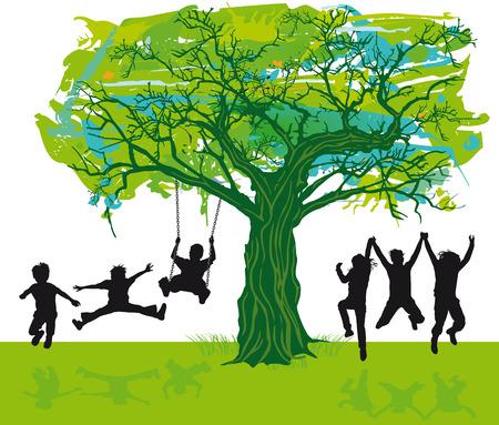Kinderen onder de boom Stock Illustratie