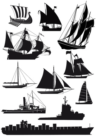 Navires et bateaux à voile Vecteurs
