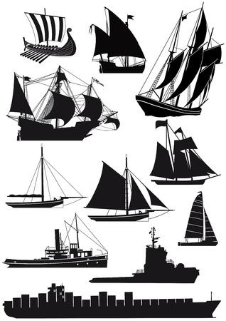 Schiffe und Segelschiffe Vektorgrafik