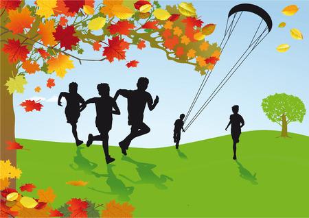 joking: Children in autumnal scenery  Illustration