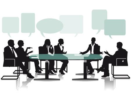 Debat en discussie in het kantoor Stock Illustratie