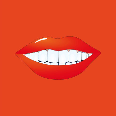 lips kiss: Mouth on red  Illustration