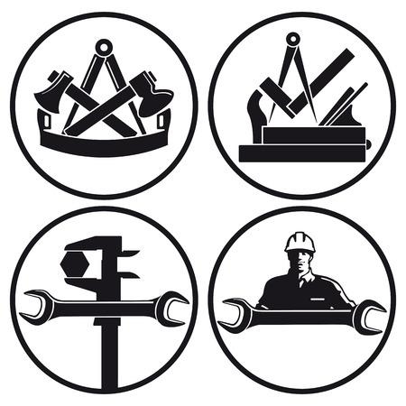 大工、建具、鍵屋文字  イラスト・ベクター素材