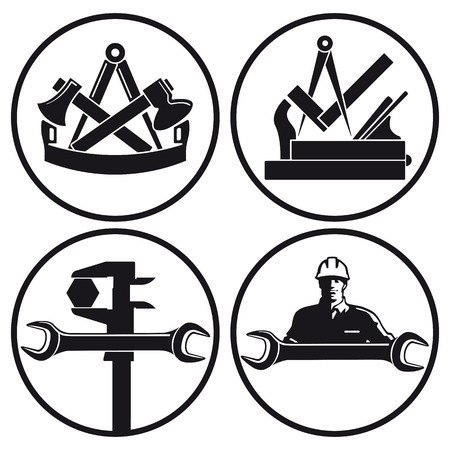Carpenters, joiner, locksmith characters  Vector