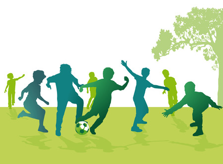 descendants: Boys playing football  Illustration