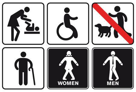 blind dog: Signs, signpost disabled  Illustration
