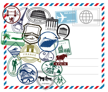 World travel airmail stamp on white ground
