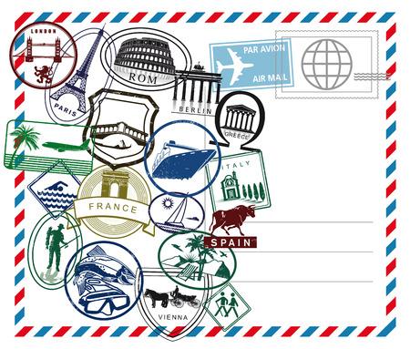 World travel airmail stamp on white ground Vector Illustration