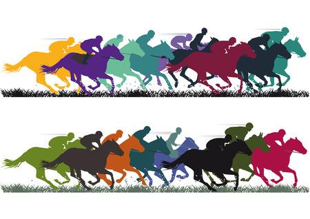 femme et cheval: Course de chevaux Illustration
