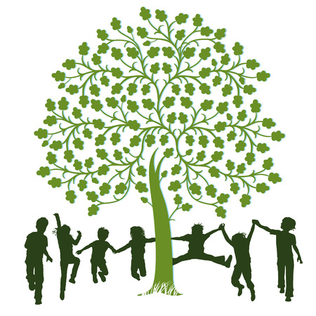 Children playing around a tree