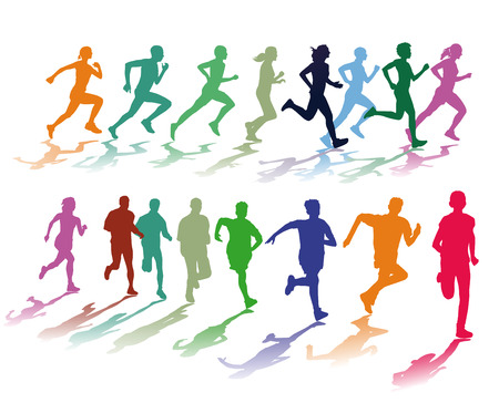 sportswoman: colorful running group