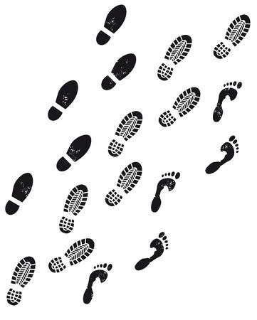 drie voetafdrukken