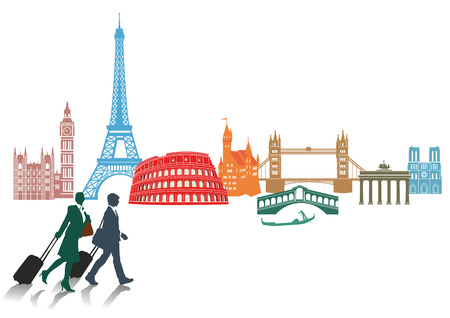Travel and tourism in Europe Vector