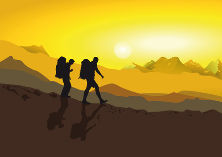 Hikers walking in the mountains
