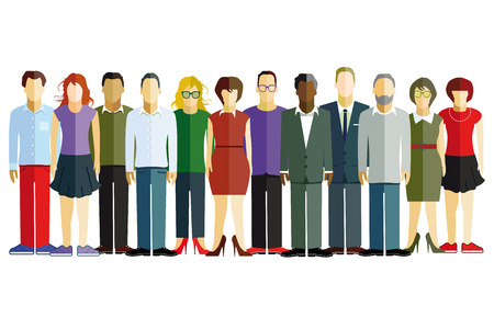 graphically: friendly group of people Illustration