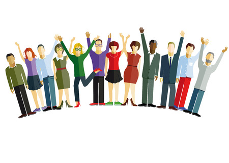 happy people: People are happy and confident Illustration