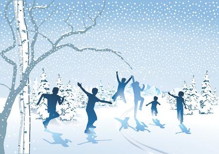 Children frolic in the snow