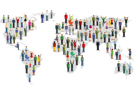populate: Group of people who form a world map