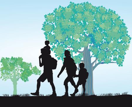 ausflug: Familienausflug Illustration