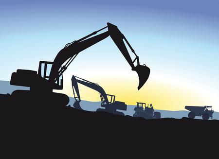 escavadeira: Escavadeira durante a escavação Ilustração