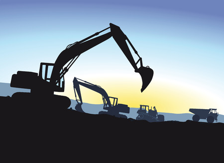 during: Excavator during excavation Illustration