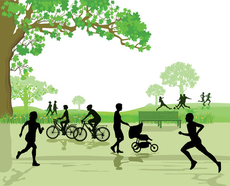 recreation area: Recreation and Sports in the Park Illustration