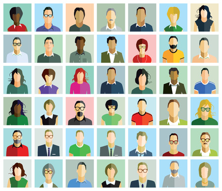 visage profil: Visages de personnes Illustration