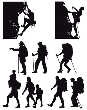 bergsteiger: Wandern, Trekkin Illustration