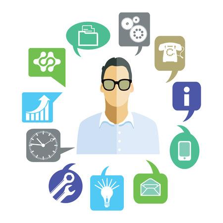 general manager: Businessman with work tasks, symbols
