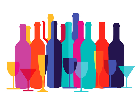 demanding: colorful cocktail glass and wine bottle