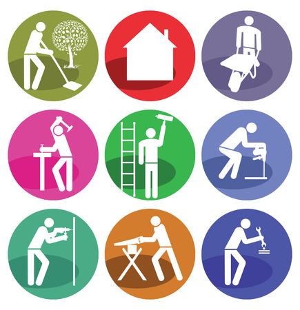 sawing: Home Craftsman Illustration