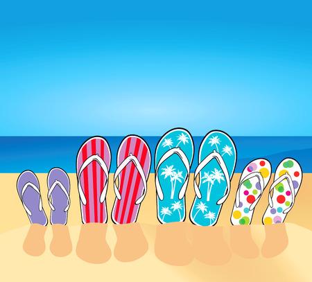 flip flop: flip-flops on the beach Illustration