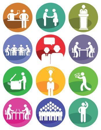 meeting people: Business Icons Illustration