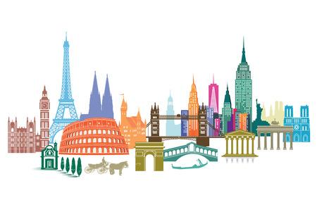 旅遊: 旅遊地標 向量圖像