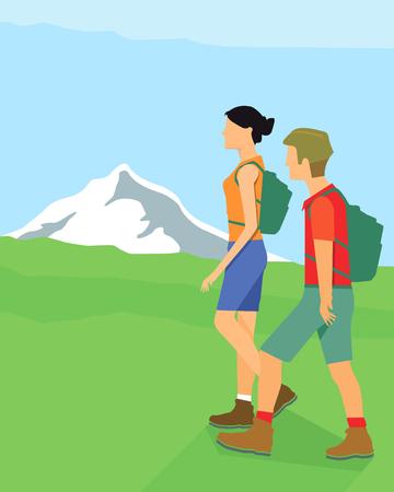 Caminante en las montañas Ilustración de vector